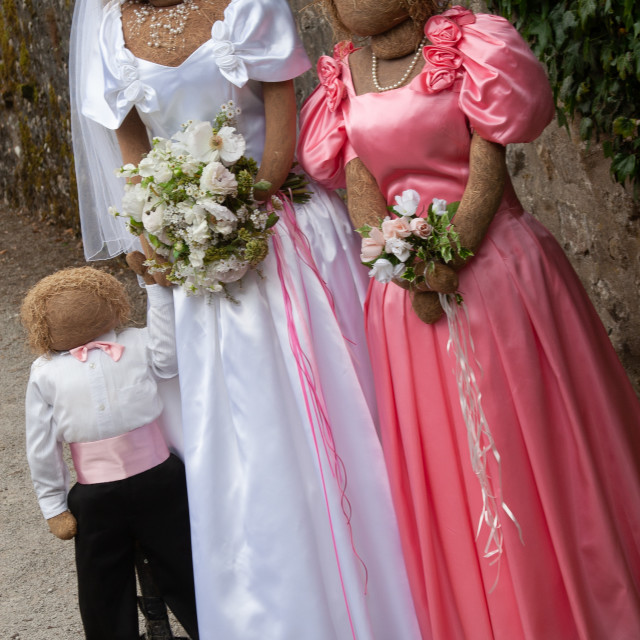 """""""Kettlewell Scarecrow Festival and Trail, Bride and Bridesmaid. Yorkshire Dales, England."""" stock image"""