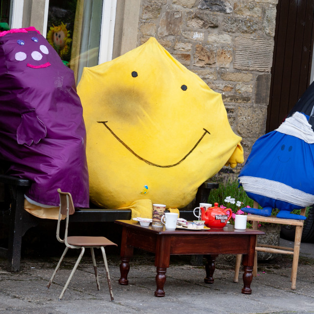 """""""Kettlewell Scarecrow Festival and Trail, Mr Men, Teatime. Yorkshire Dales, England."""" stock image"""