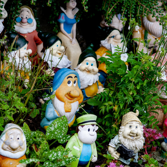 """""""Kettlewell Scarecrow Festival and Trail, Gnomes. Yorkshire Dales, England."""" stock image"""