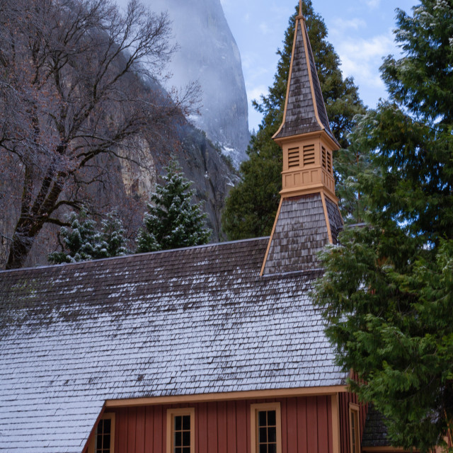 """Yosemite Chapel under fresh snow"" stock image"