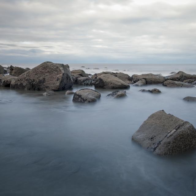"""Rocky shores at Ravenscar, North Yorkshire"" stock image"