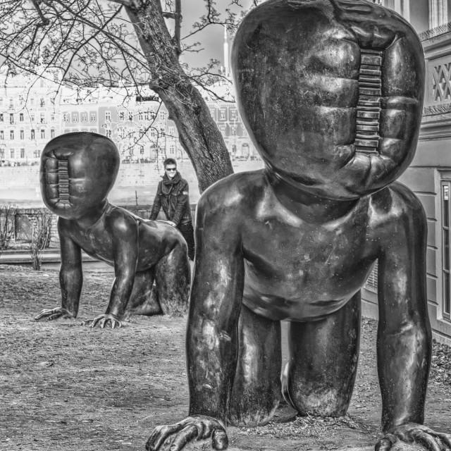 """""""Crawling Babies Sculptures - Prague"""" stock image"""