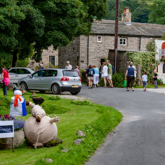 """""""Kettlewell Scarecrow Festival and Trail, Yorkshire Dales, England."""" stock image"""