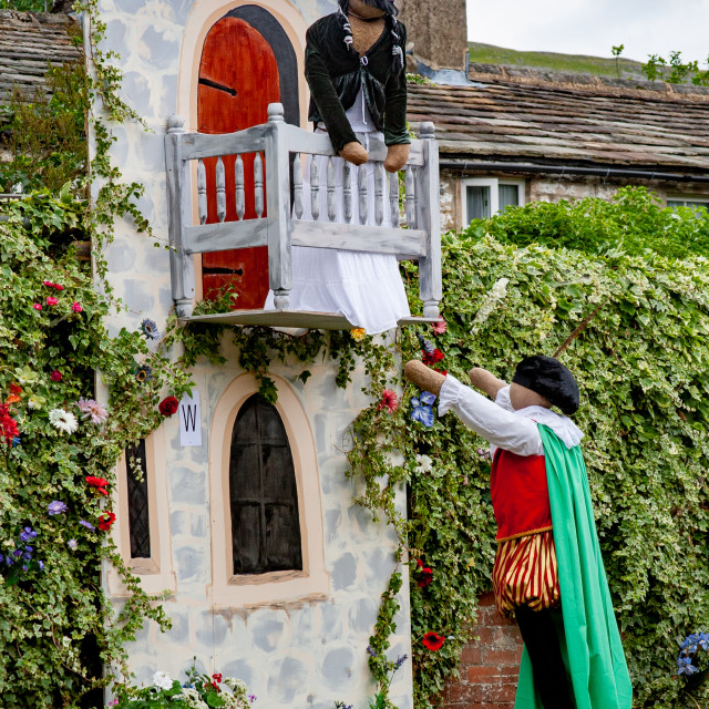 """""""Kettlewell Scarecrow Festival and Trail, Romeo and Juliet. Yorkshire Dales, England."""" stock image"""