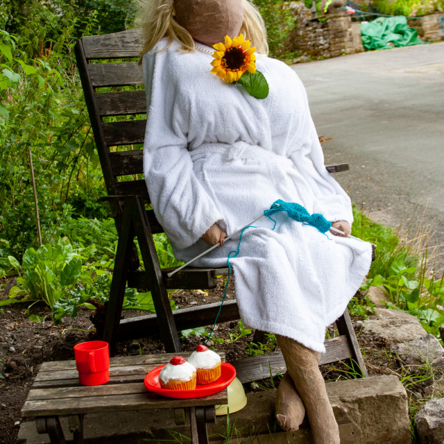 """""""Kettlewell Scarecrow Festival and Trail, Cherry Bun Time. Yorkshire Dales, England."""" stock image"""