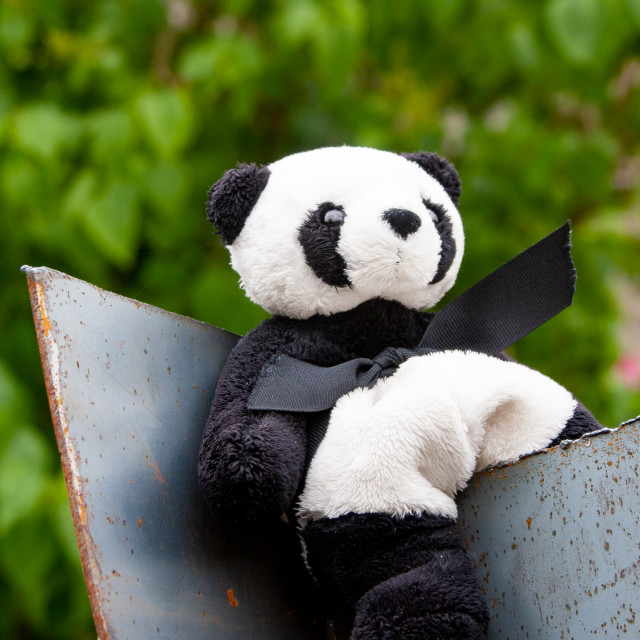 """""""Kettlewell Scarecrow Festival and Trail, Panda. Yorkshire Dales, England."""" stock image"""