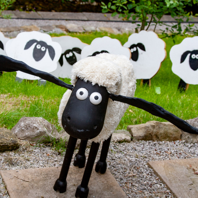 """""""Kettlewell Scarecrow Festival and Trail, Shaun the Sheep. Yorkshire Dales, England."""" stock image"""