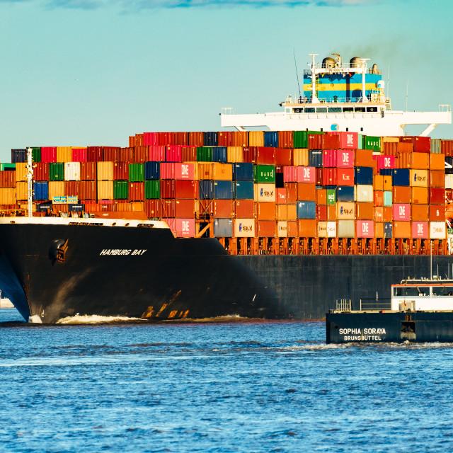 """""""Blick auf die Elbe mit Containerschiff"""" stock image"""