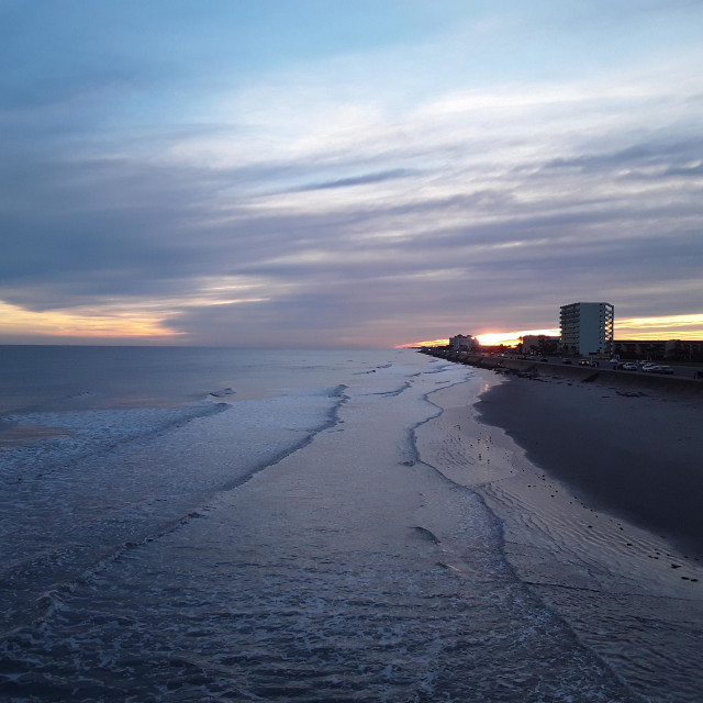 """""""View of Seawall Blvd"""" stock image"""