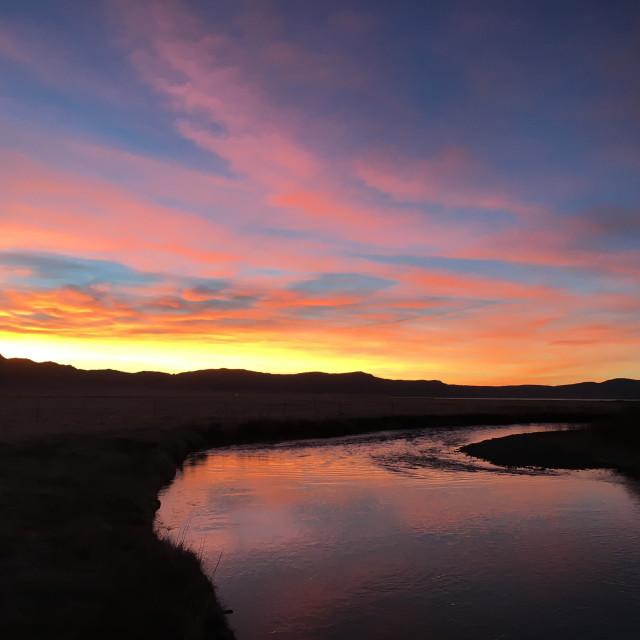 """River sunrise"" stock image"