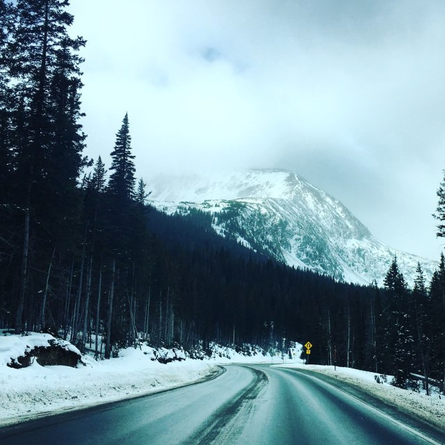 """Snowy mountain Drive"" stock image"