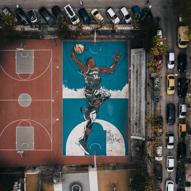 """""""Antetokounmpo basketball court Athens"""" stock image"""