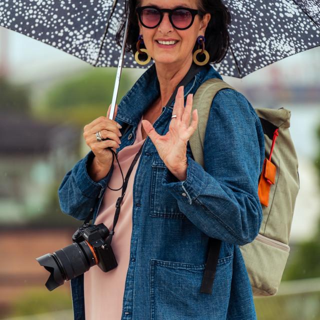 """Umbrella woman on vacation"" stock image"