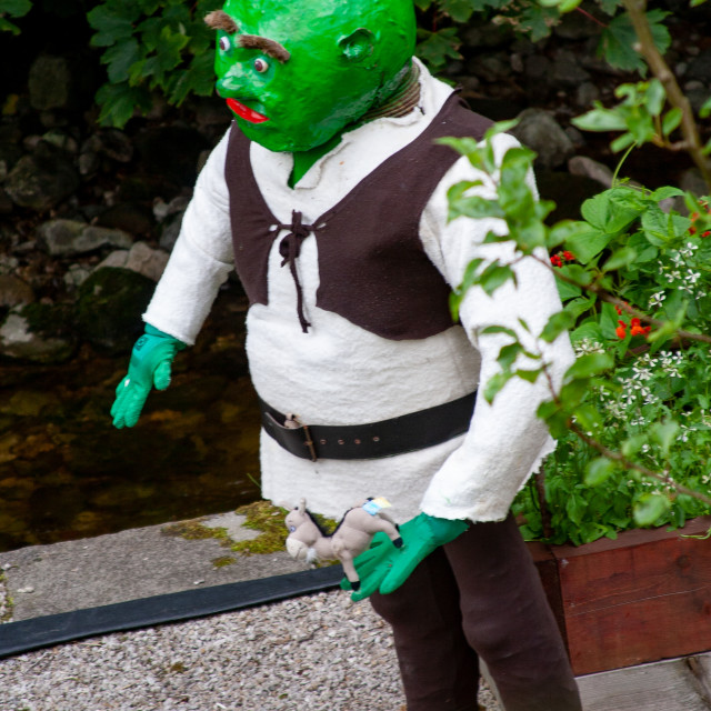 """""""Kettlewell Scarecrow Festival and Trail, Shrek. Yorkshire Dales, England."""" stock image"""