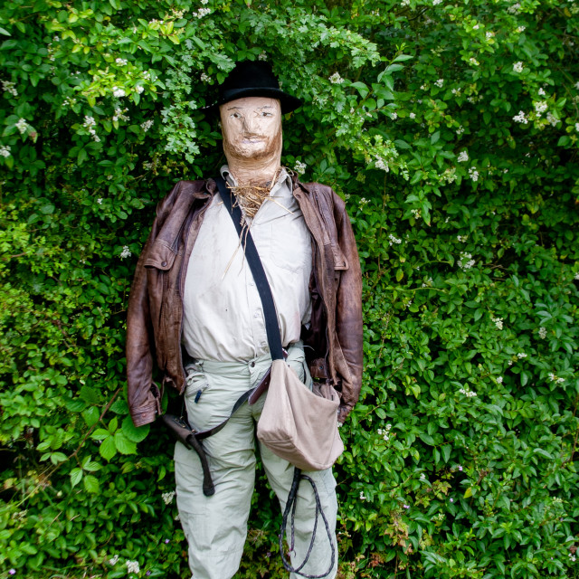 """""""Kettlewell Scarecrow Festival and Trail, Indiana Jones. Yorkshire Dales, England."""" stock image"""