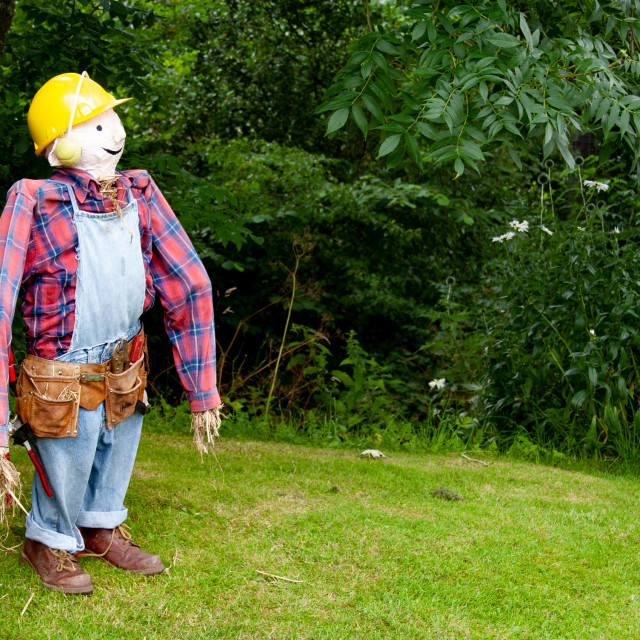 """""""Kettlewell Scarecrow Festival and Trail, Bob the Builder. Yorkshire Dales, England."""" stock image"""