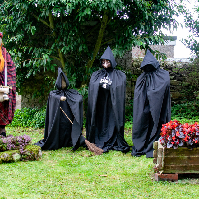 """""""Kettlewell Scarecrow Festival and Trail, Braveheart and Wiches. Yorkshire Dales, England."""" stock image"""