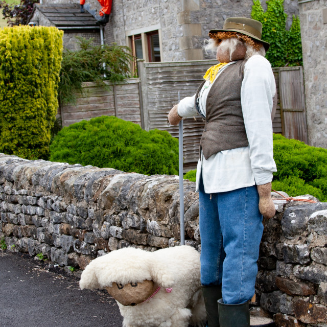 """""""Kettlewell Scarecrow Festival and Trail, Shepherd and Sheep. Yorkshire Dales, England."""" stock image"""