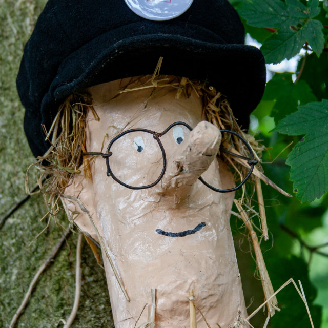 """""""Kettlewell Scarecrow Festival and Trail, Postman Pat. Yorkshire Dales, England."""" stock image"""