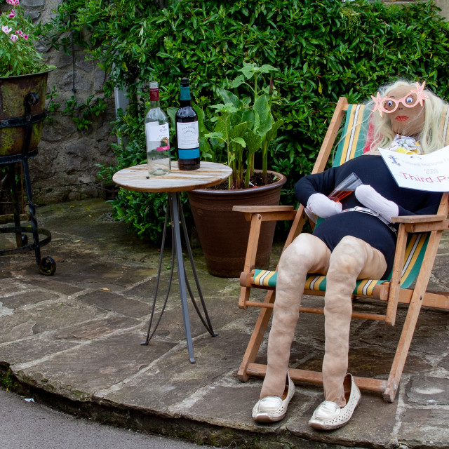 """""""Kettlewell Scarecrow Festival and Trail, Lady in Deckchair. Yorkshire Dales, England."""" stock image"""