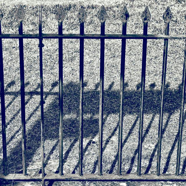 """Victorian Railings & Road Sign Shadows"" stock image"