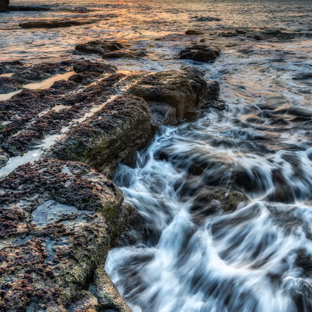 """""""Dawn at Winspit quarry"""" stock image"""