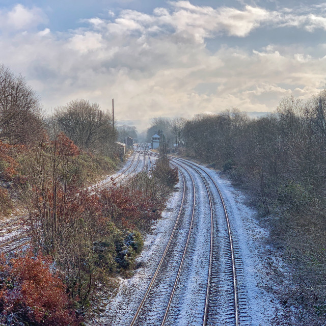 """Romiley Railway Station"" stock image"