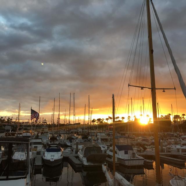 """Long Beach sunset"" stock image"