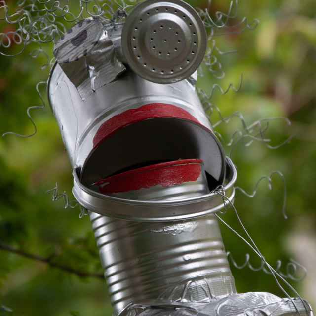 """""""Kettlewell Scarecrow Festival and Trail, Tin Man. Yorkshire Dales, England."""" stock image"""