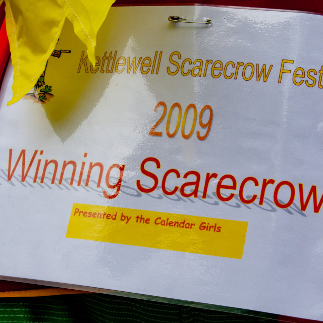 """""""Kettlewell Scarecrow Festival and Trail, Winning Scarecrow Certificate. Yorkshire Dales, England."""" stock image"""