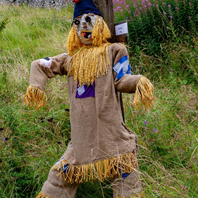 """Kettlewell Scarecrow Festival and Trail. Worzel Gummidge. Yorkshire Dales, England."" stock image"