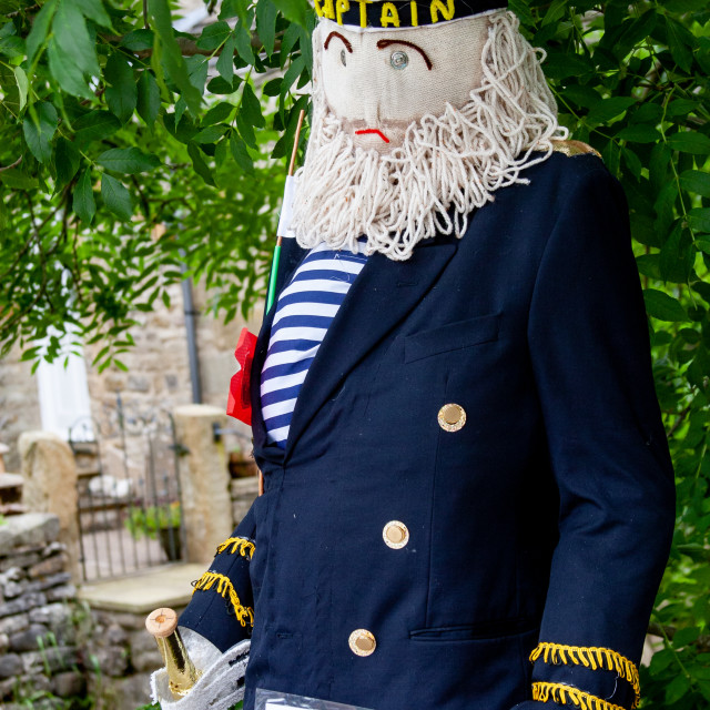 """""""Kettlewell Scarecrow Festival and Trail, Captain Birds Eye. Yorkshire Dales, England."""" stock image"""