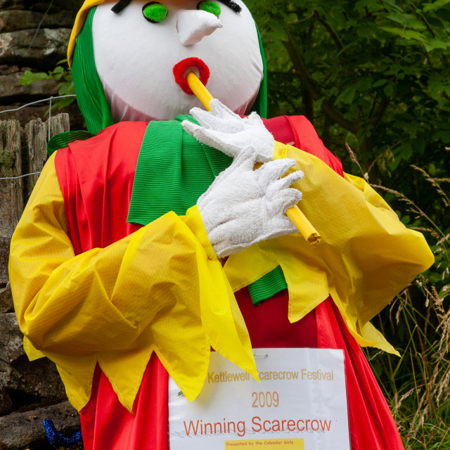 """""""Kettlewell Scarecrow Festival and Trail, Pied Piper. Winner. Yorkshire Dales, England."""" stock image"""