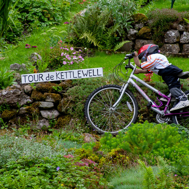 """""""Kettlewell Scarecrow Festival and Trail, Tour de Kettlewell. Yorkshire Dales, England."""" stock image"""
