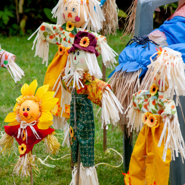 """""""Kettlewell Scarecrow Festival and Trail, School Time. Yorkshire Dales, England."""" stock image"""