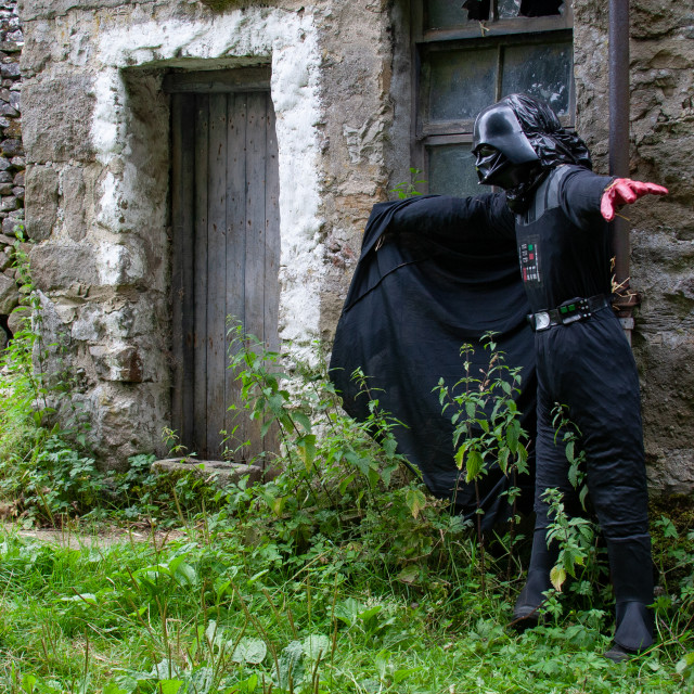 """""""Kettlewell Scarecrow Festival and Trail, Darth Vader, Star Wars. Yorkshire Dales, England."""" stock image"""