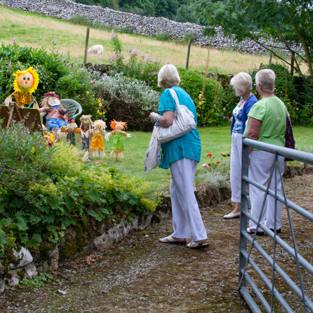 """""""Kettlewell Scarecrow Festival and Trail, School, Yorkshire Dales, England."""" stock image"""
