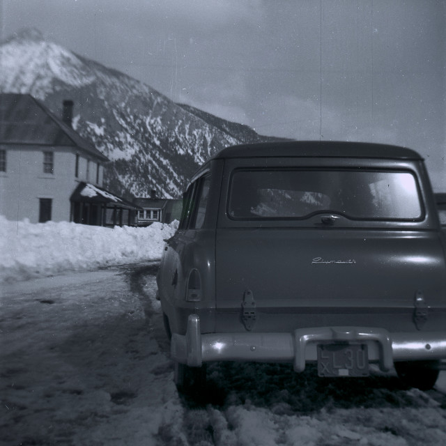 """""""Vintage Plymouth and mountain"""" stock image"""