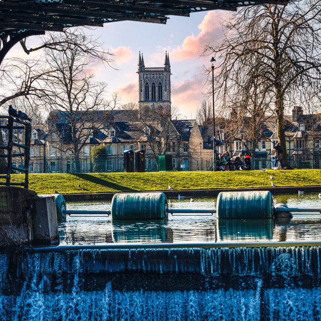 """Sunset from Jesus Lock, River Cam, Cambridge UK."" stock image"