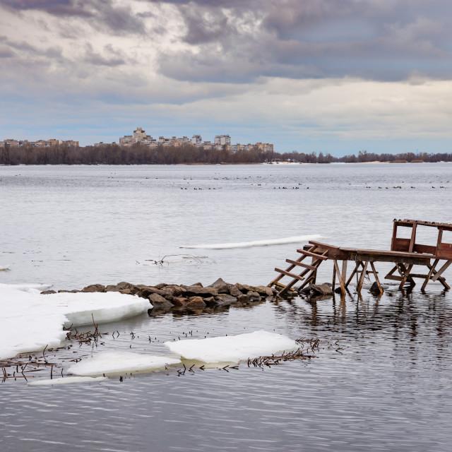 """""""Fishing dock on the Dnieper river in Kiev"""" stock image"""