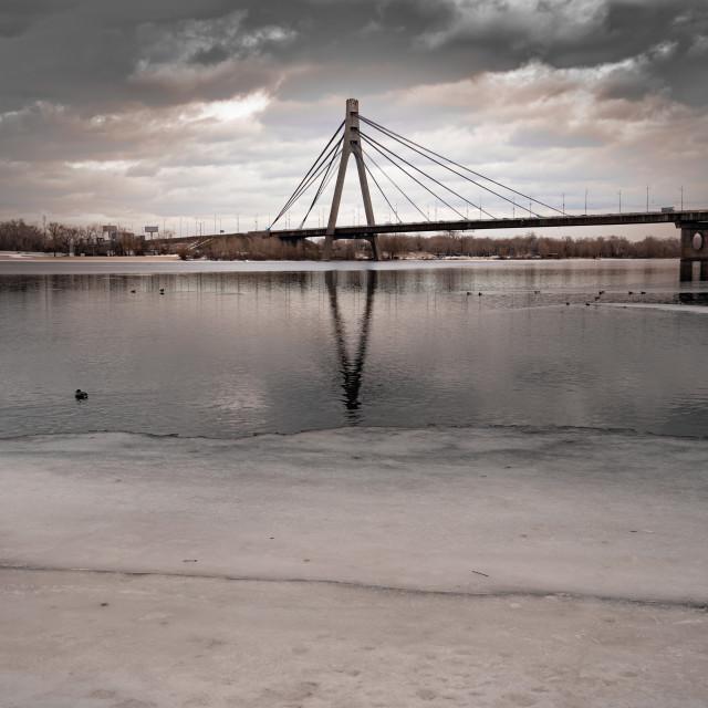 """The Pivnichnyi bridge, in Kiev, Ukraine, during winter"" stock image"