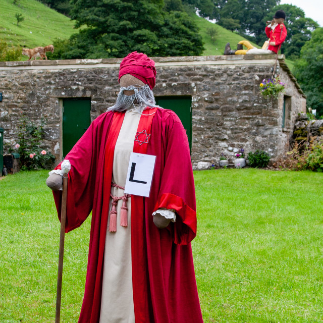 """""""Kettlewell Scarecrow Festival and Trail, Fox and Huntsman. Yorkshire Dales, England."""" stock image"""