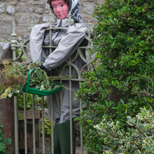 """""""Kettlewell Scarecrow Festival and Trail, Gardener in Wellingtons. Yorkshire Dales, England."""" stock image"""