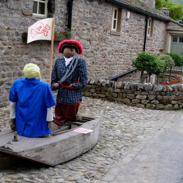 """""""Kettlewell Scarecrow Festival and Trail, Pirate and Boat. Yorkshire Dales, England."""" stock image"""