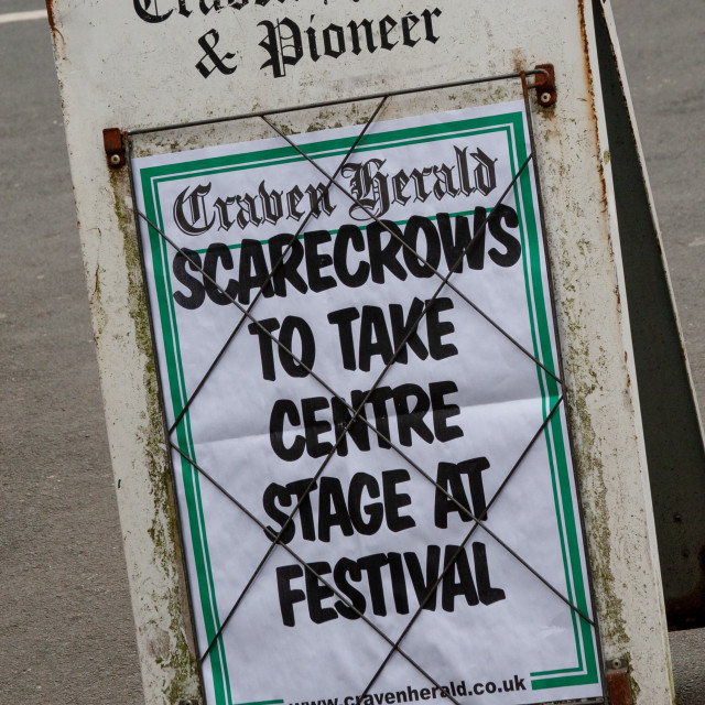 """""""Kettlewell Scarecrow Festival and Trail, Newsboard, Yorkshire Dales, England."""" stock image"""