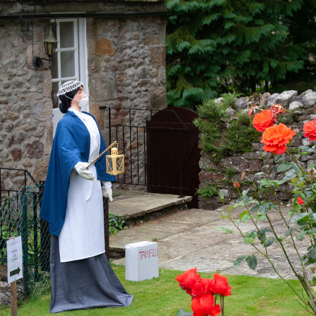 """""""Kettlewell Scarecrow Festival and Trail, Lady with the Lamp. Yorkshire Dales, England."""" stock image"""