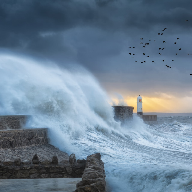 """Crashing waves at Porthcawl"" stock image"