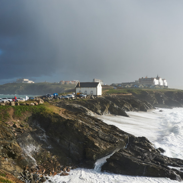 """""""Hail storm over Little Fistral"""" stock image"""