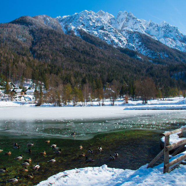 """""""Beautiful frozen lake in the Alps"""" stock image"""