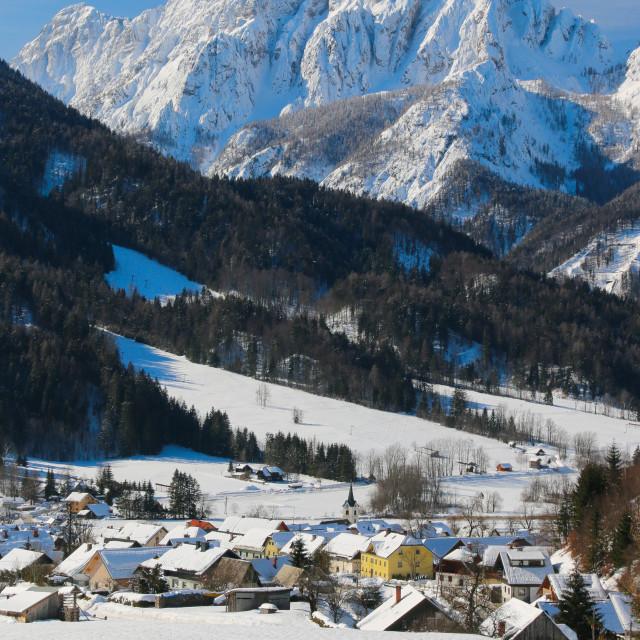 """""""Winter in the alpine village Podkoren"""" stock image"""